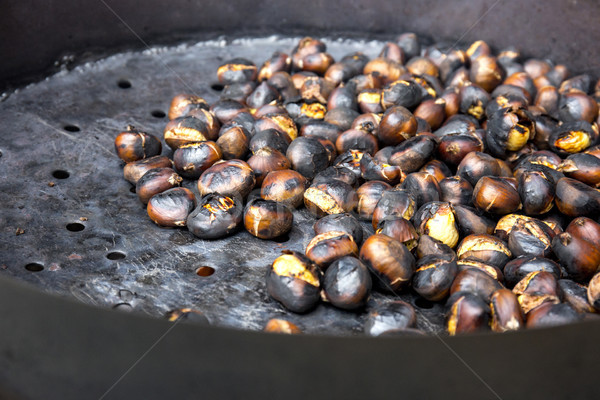 Organic Brown Chestnuts Roasting over a hot fire  Stock photo © stefanoventuri