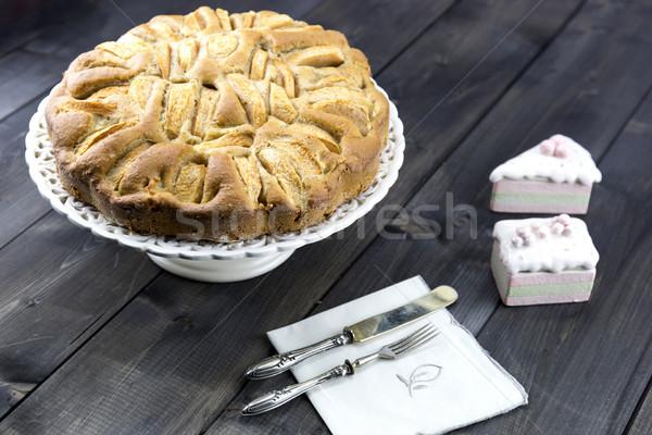 Hagyományos olasz almás pite fa asztal fa gyümölcs Stock fotó © stefanoventuri