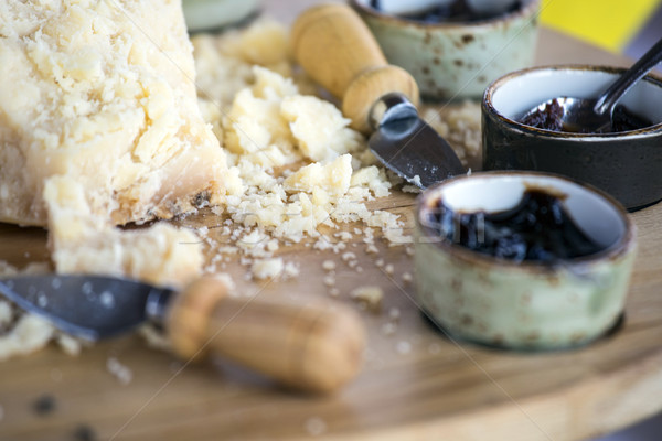 Parçalar İtalyan parmesan peyniri kiraz reçel arka plan Stok fotoğraf © stefanoventuri