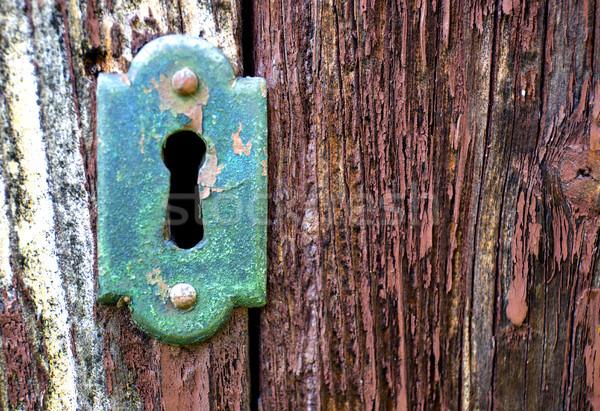 Primer plano edad ojo de la cerradura clave antiguos Foto stock © stefanoventuri
