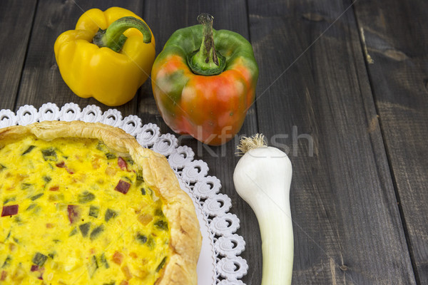 Savory pie with peppers, onion, carrots and zucchini Stock photo © stefanoventuri