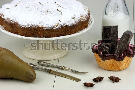 Stock photo: Italian cake with ricotta, pears and drops of chocolate