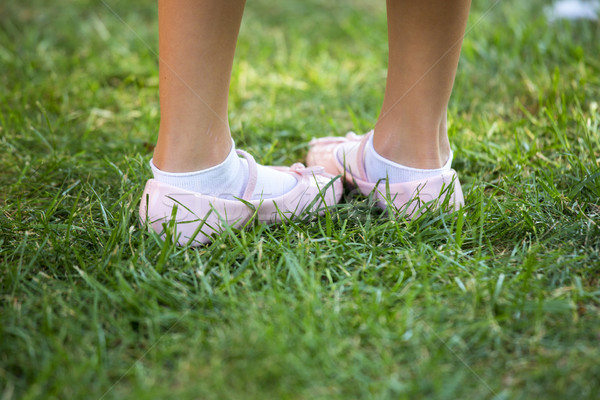 Child's pink shoes in a green grass Stock photo © stefanoventuri