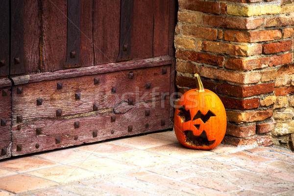 Hoofd lantaarn buiten deur kasteel Stockfoto © stefanoventuri