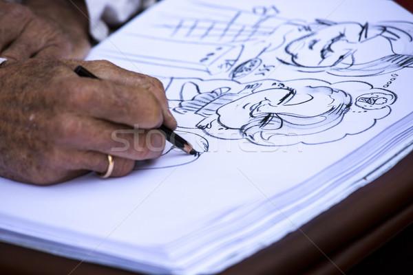 улице художника Семейный портрет бумаги город карандашом Сток-фото © stefanoventuri