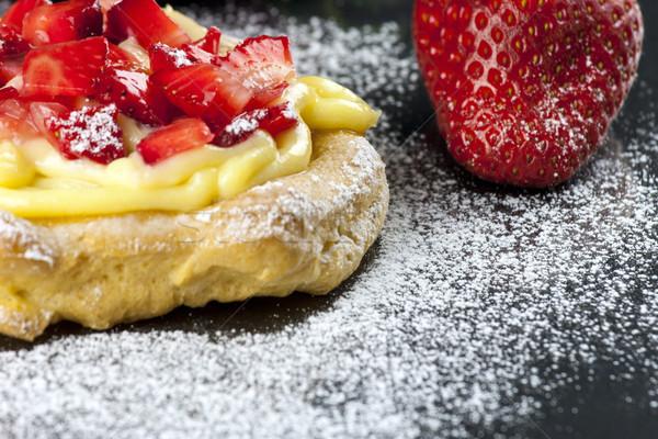 Zeppole with strawberry- tipical italian pastry Stock photo © stefanoventuri