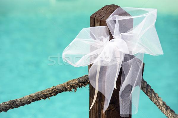 Düğün dekorasyon beyaz yay havuz kâğıt Stok fotoğraf © stefanoventuri