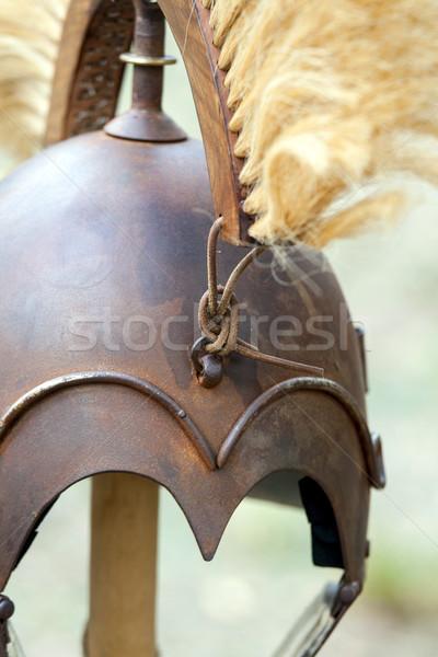 Copier anciens casque romaine fond métal Photo stock © stefanoventuri