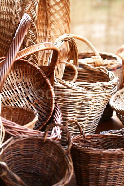 Madeira natureza mercado padrão recipiente isolado Foto stock © stefanoventuri