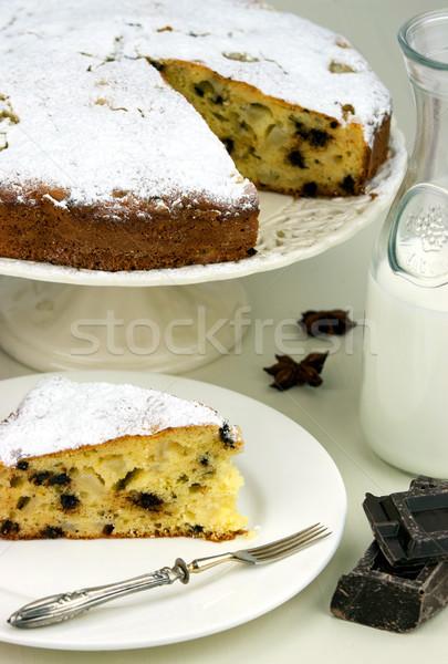 Italiaans cake peren druppels chocolade witte Stockfoto © stefanoventuri