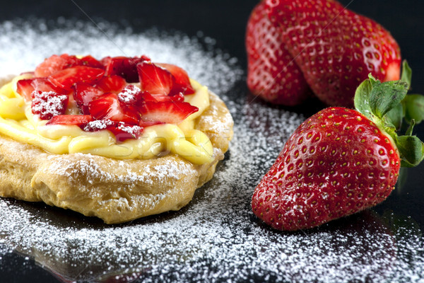 Zeppole with strawberry- tipical italian pastry Stock photo © stefanoventuri
