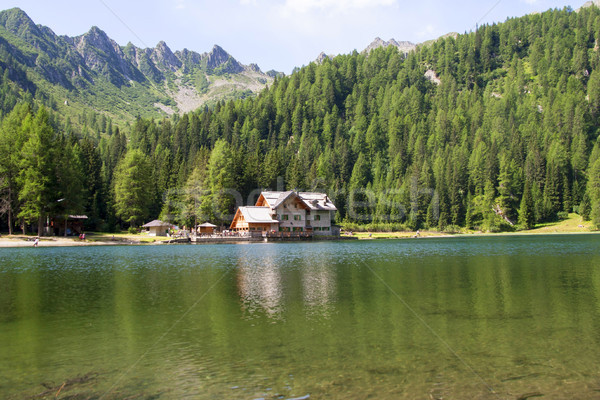 Shelter in high mountain with lake Stock photo © stefanoventuri
