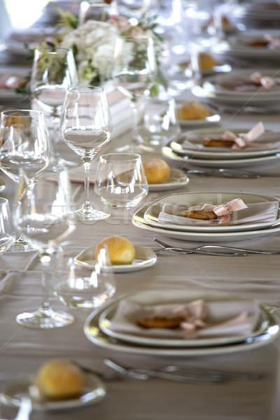 Tavola ricevimento di nozze fiore wedding ristorante piatto Foto d'archivio © stefanoventuri