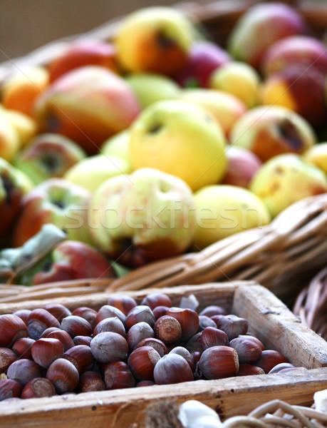Hazelnuts and apples Stock photo © stefanoventuri