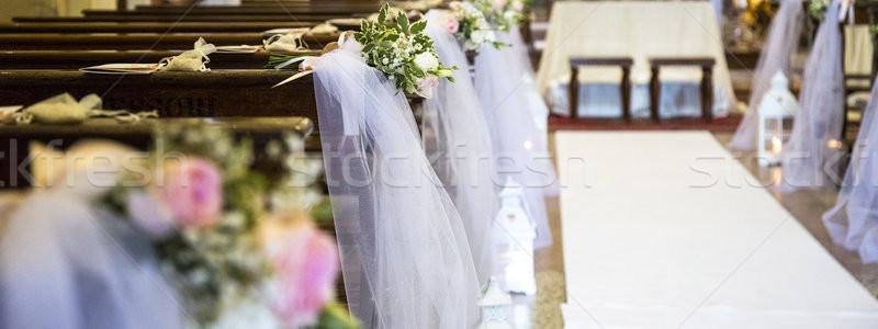 Piękna kwiaty ślub dekoracji kościoła piękna Zdjęcia stock © stefanoventuri