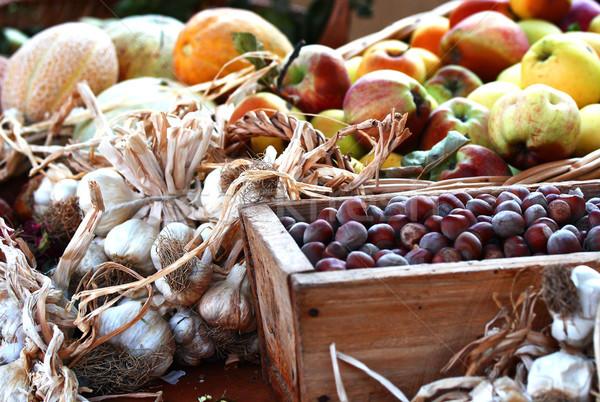 Elma sarımsak kavun gıda pazar Stok fotoğraf © stefanoventuri
