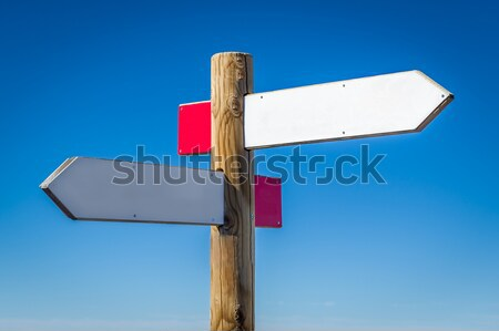 Wooden road sign with walking routes Stock photo © Steffus