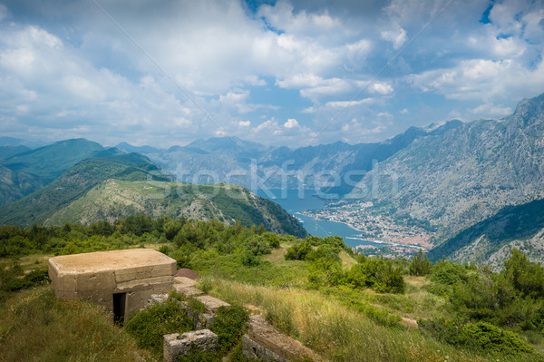 Fort Gorazda ruins and view to Bay of Kotor Stock photo © Steffus