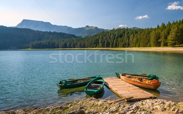 Colorful fishing boats at mountain lakes of Durmitor Stock photo © Steffus