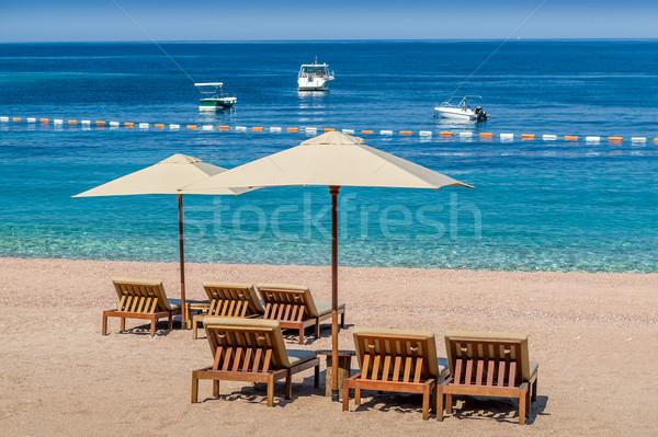 Stock fotó: álomszerű · homok · tengerpart · Montenegró · úszik · vonal
