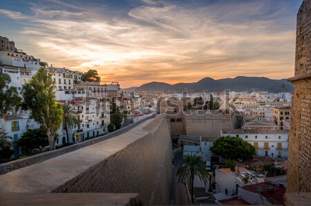 Dalt Vila fortress at sunset Stock photo © Steffus