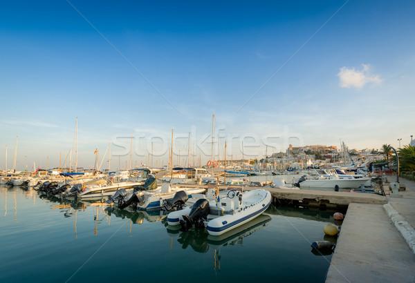Pêche bateaux marina bois pier loisirs Photo stock © Steffus