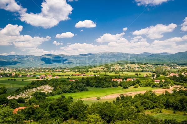 Черногория типичный деревне домах полях Сток-фото © Steffus