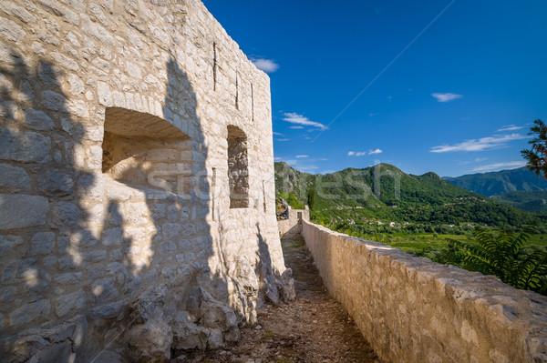 крепость стены древних замок стен озеро Сток-фото © Steffus