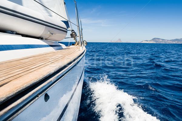 Zeil avontuur zeilen boot snel beweging Stockfoto © Steffus