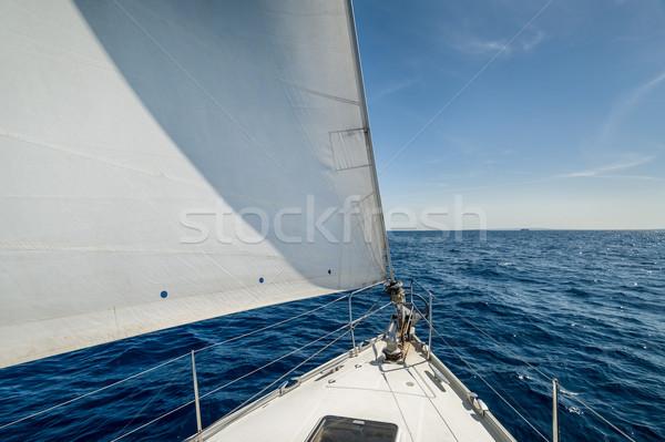 セーリング ヨット 弓 島々 スペイン 海 ストックフォト © Steffus