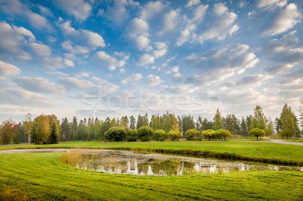 пруд луговой деревья лет пейзаж облака Сток-фото © Steffus