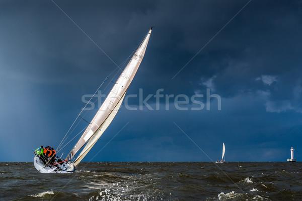 Zeilen jacht storm zwaar weer Stockfoto © Steffus