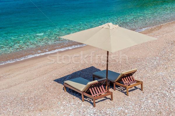 Lüks plaj mobilya ayarlamak deniz cennet Stok fotoğraf © Steffus