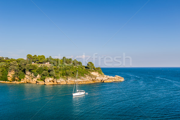 White sailing yacht in the bay of Adriatic sea Stock photo © Steffus