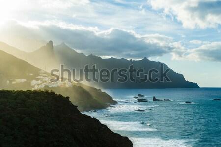 Montanha aldeia pôr do sol último dourado luz Foto stock © Steffus