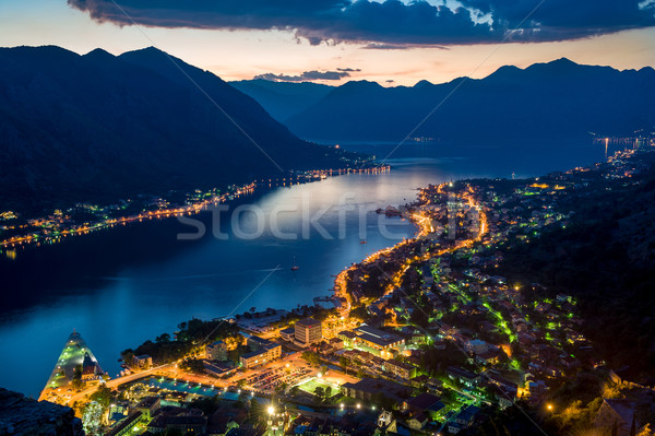 Bay of Kotor night view from old monastery in the mountains. Stock photo © Steffus
