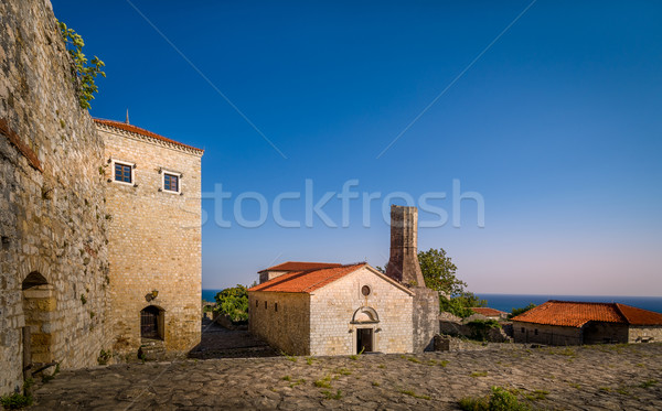 Stock photo: Ulcinj old town streers at sunset warm light