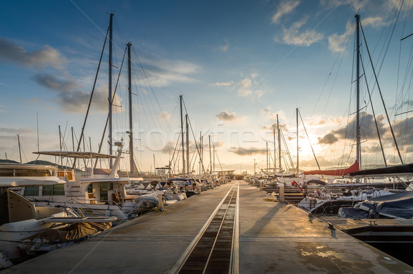 Yacht marina sunrise Stock photo © Steffus