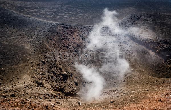Vulcano attivo cratere fumo sicilia Italia Foto d'archivio © Steffus