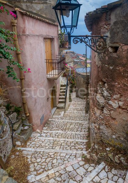 средневековых улице узкий старые крепость Сицилия Сток-фото © Steffus