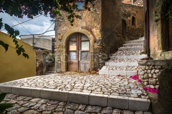 Ulic sycylia kroki starówka Włochy ściany Zdjęcia stock © Steffus