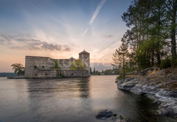 замок острове закат свет средневековых Сток-фото © Steffus