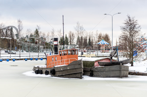 Frozen vessels in the river. Helsinki, Finland Stock photo © Steffus