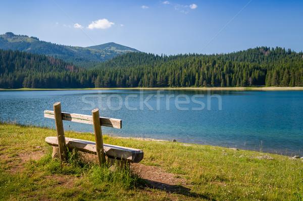 Wooden bench at Black Lake in Durmitor, Montenegro Stock photo © Steffus