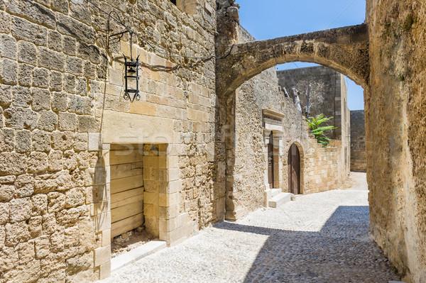 狭い 通り 旧市街 ギリシャ 家 ストックフォト © Steffus