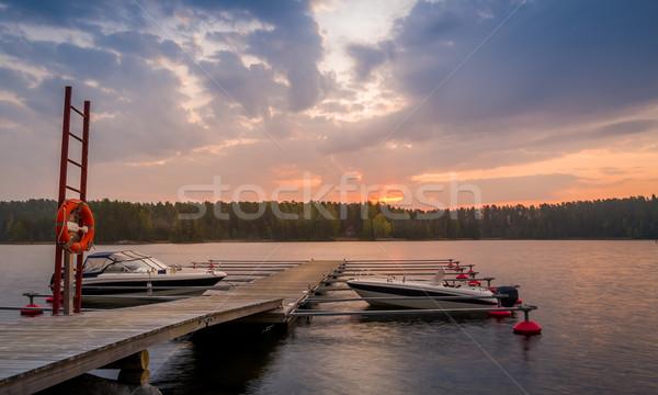 Recreational boats at sunrise Stock photo © Steffus