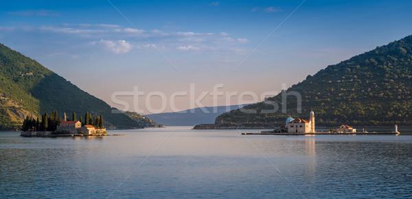 Kolostor szigetek este panoráma Montenegró sziget Stock fotó © Steffus