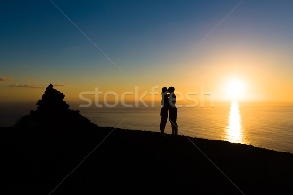 Couple at romantic evening sunset at La Palma island Stock photo © Steffus