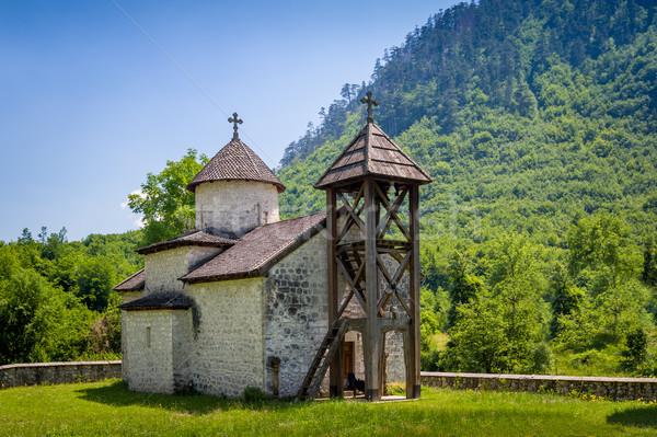 Eski manastır ortodoks gökyüzü Bina dağ Stok fotoğraf © Steffus
