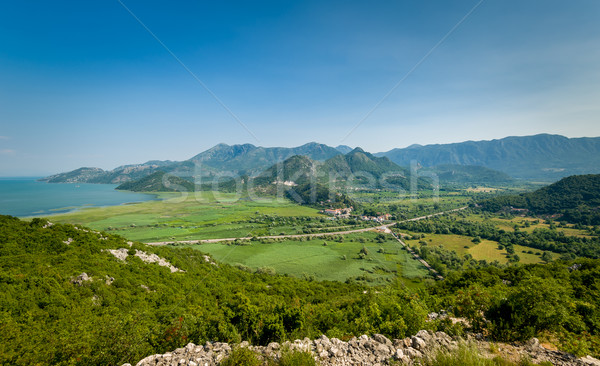 Montenegro landscape with Virpazar town, Skadar lake national park and the mountains range Stock photo © Steffus